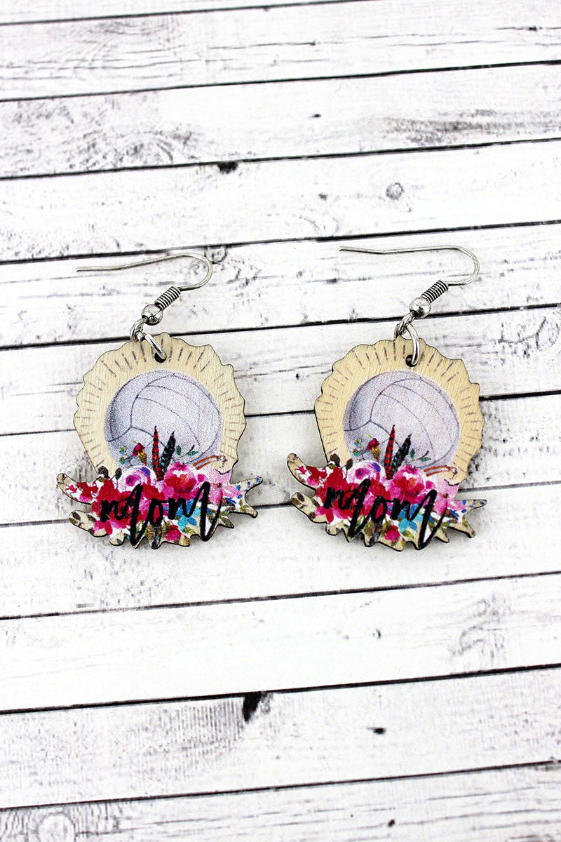 Volleyball Mom Wood Earrings