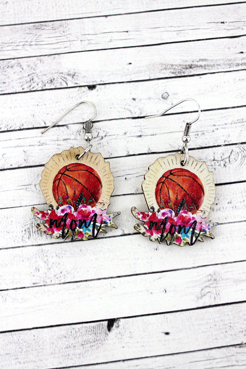 Basketball Mom Wood Earrings