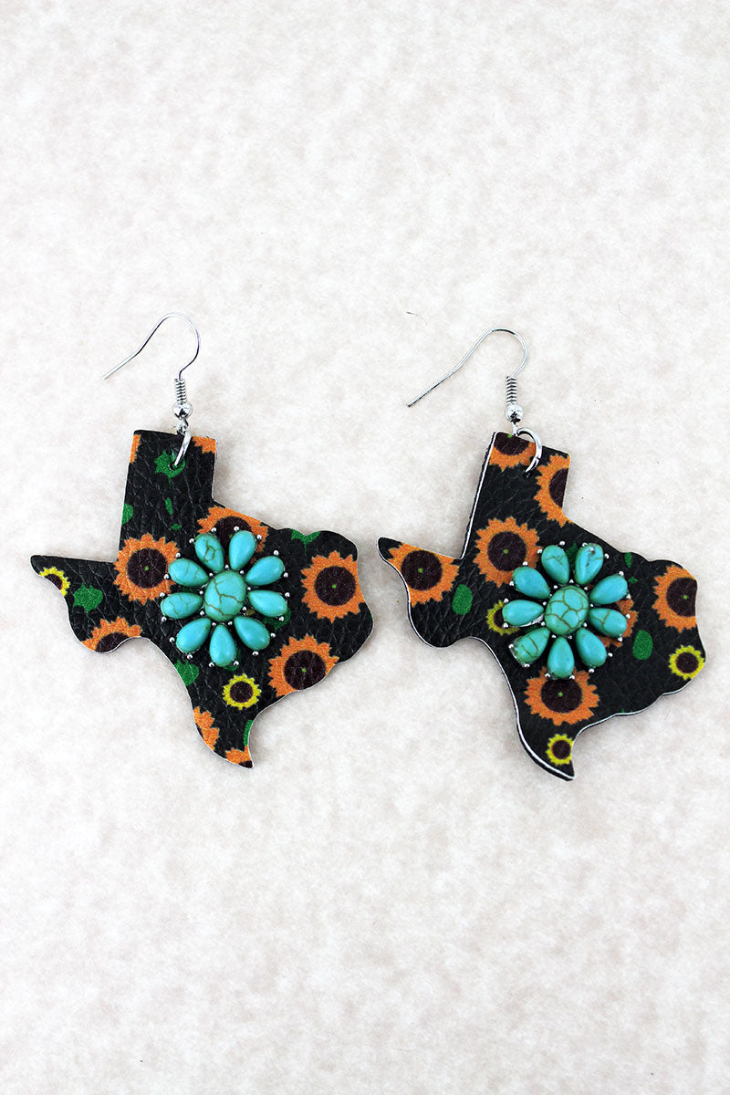 Turquoise Flower and Sunflower Faux Leather Texas Earrings