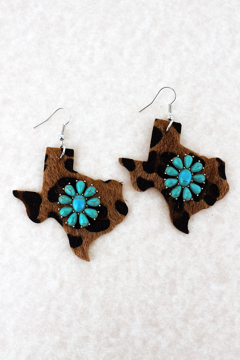 Turquoise Flower and Faux Leopard Texas Earrings