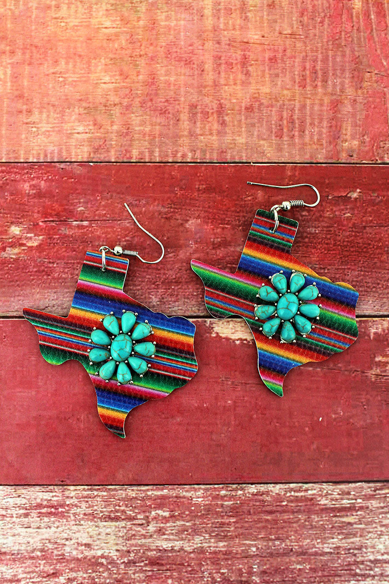 Turquoise Flower and Serape Faux Leather Texas Earrings