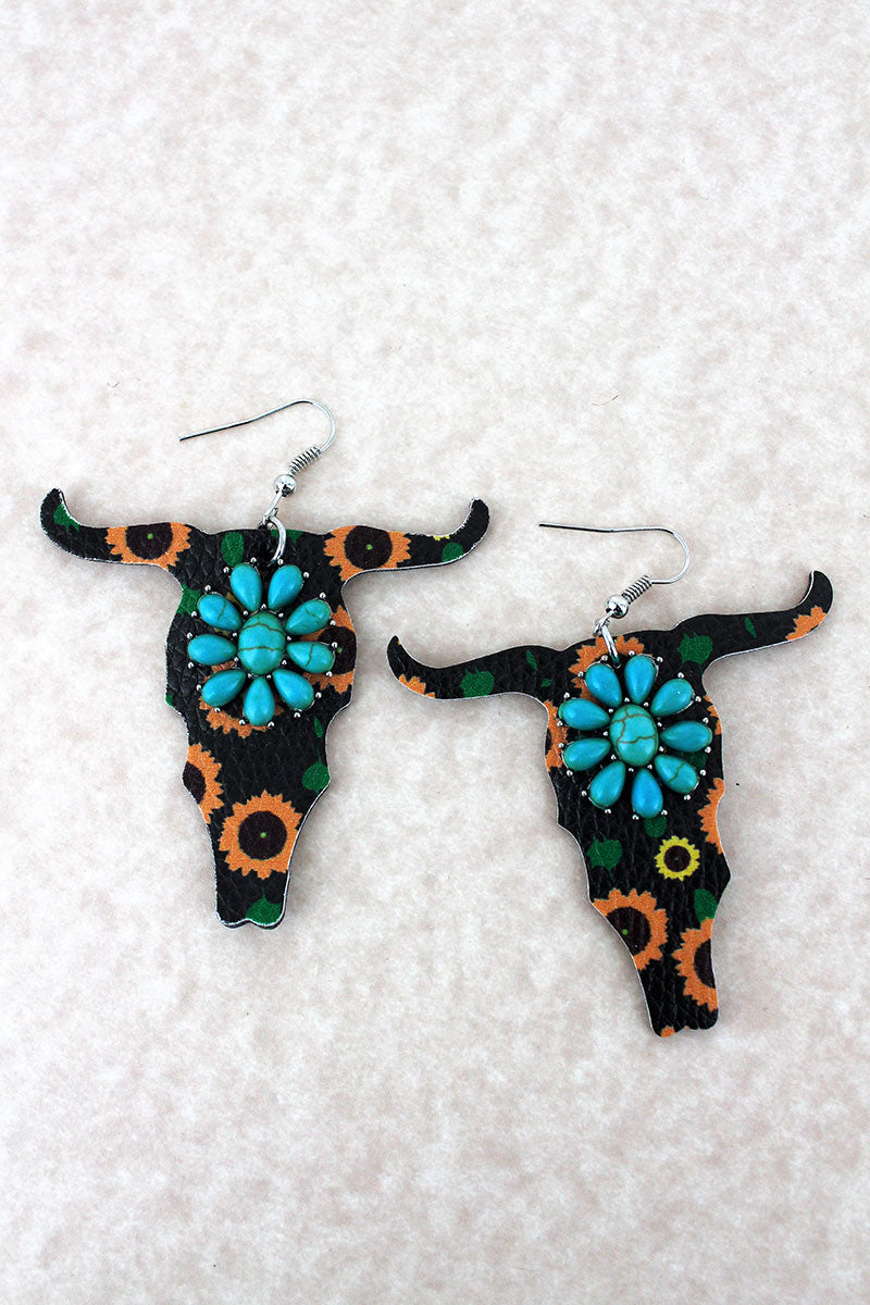 Turquoise Flower and Sunflower Faux Leather Steer Earrings