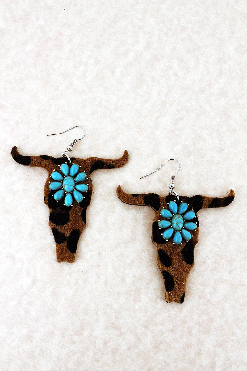 Turquoise Flower and Faux Leopard Steer Earrings