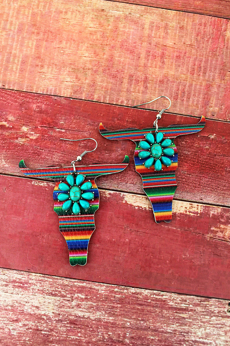 Turquoise Flower and Serape Faux Leather Steer Earrings