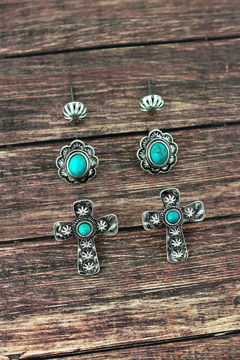 Western Cross and Framed Turquoise Oval Stud Earrings 3 Pair Set