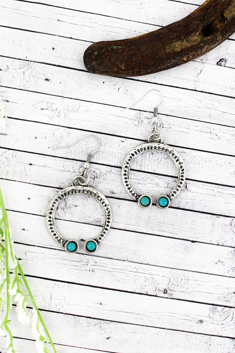 Western Silvertone with Turquoise Bead Naja Earrings