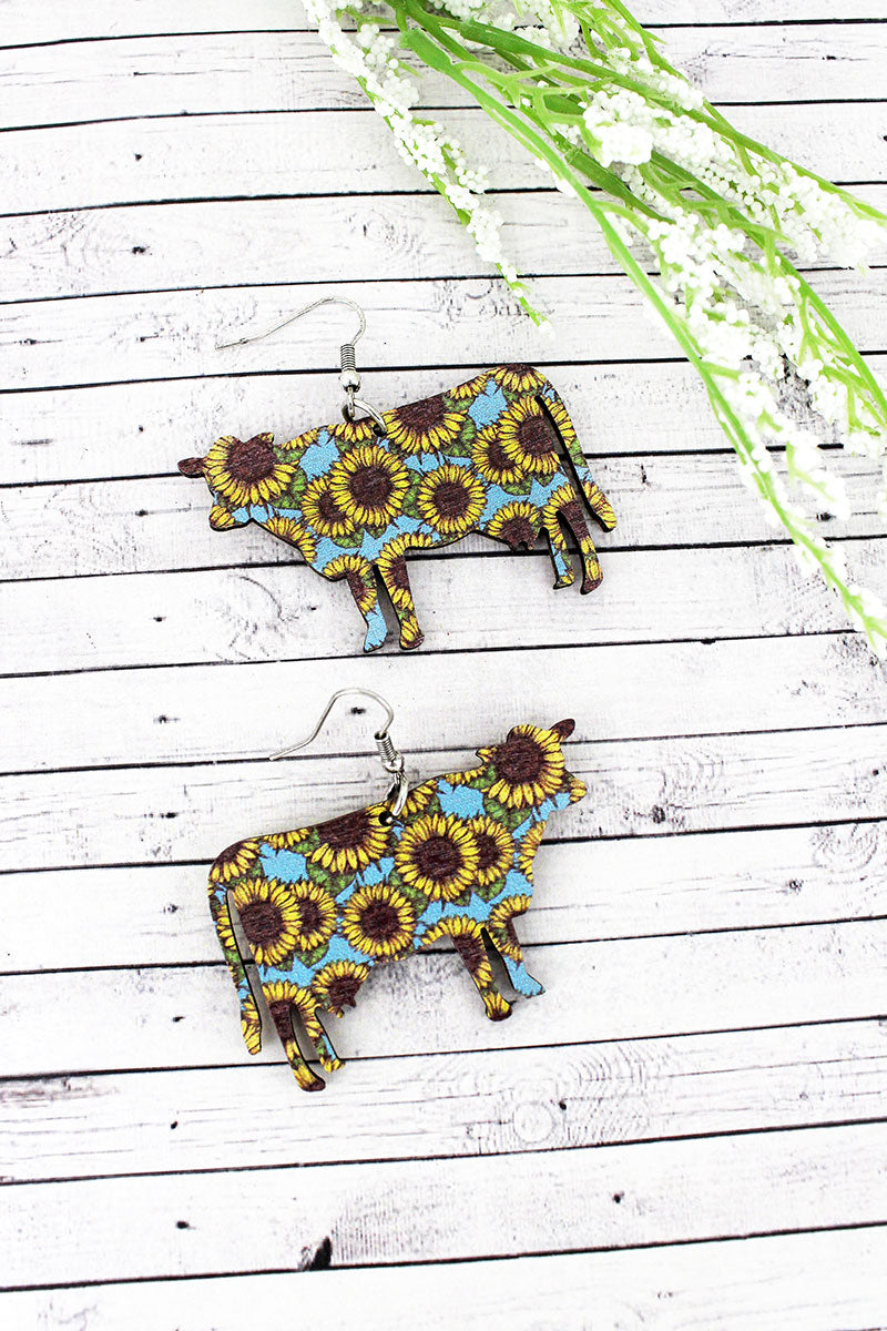 Sunflower Sky Cow Wood Earrings