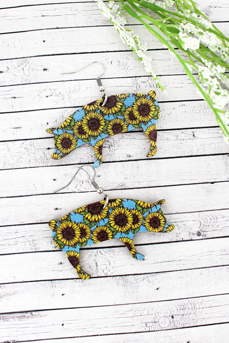 Sunflower Sky Pig Wood Earrings