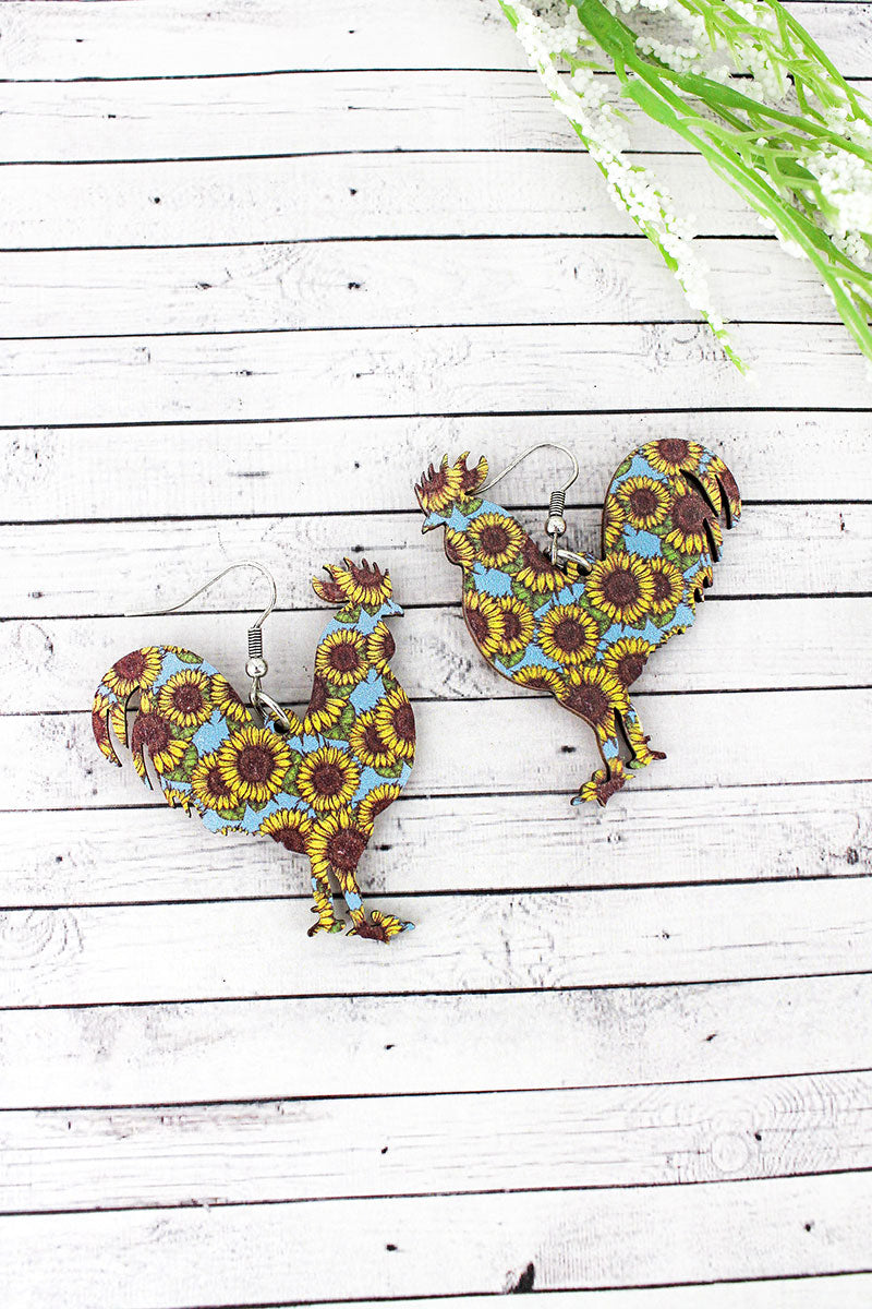 Sunflower Sky Rooster Wood Earrings