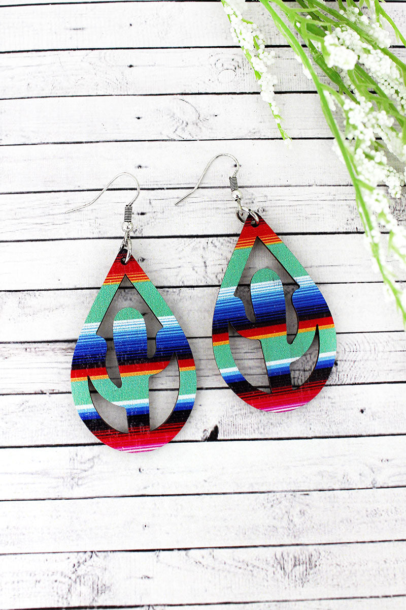 Mint Serape Cut-Out Cactus Teardrop Wood Earrings
