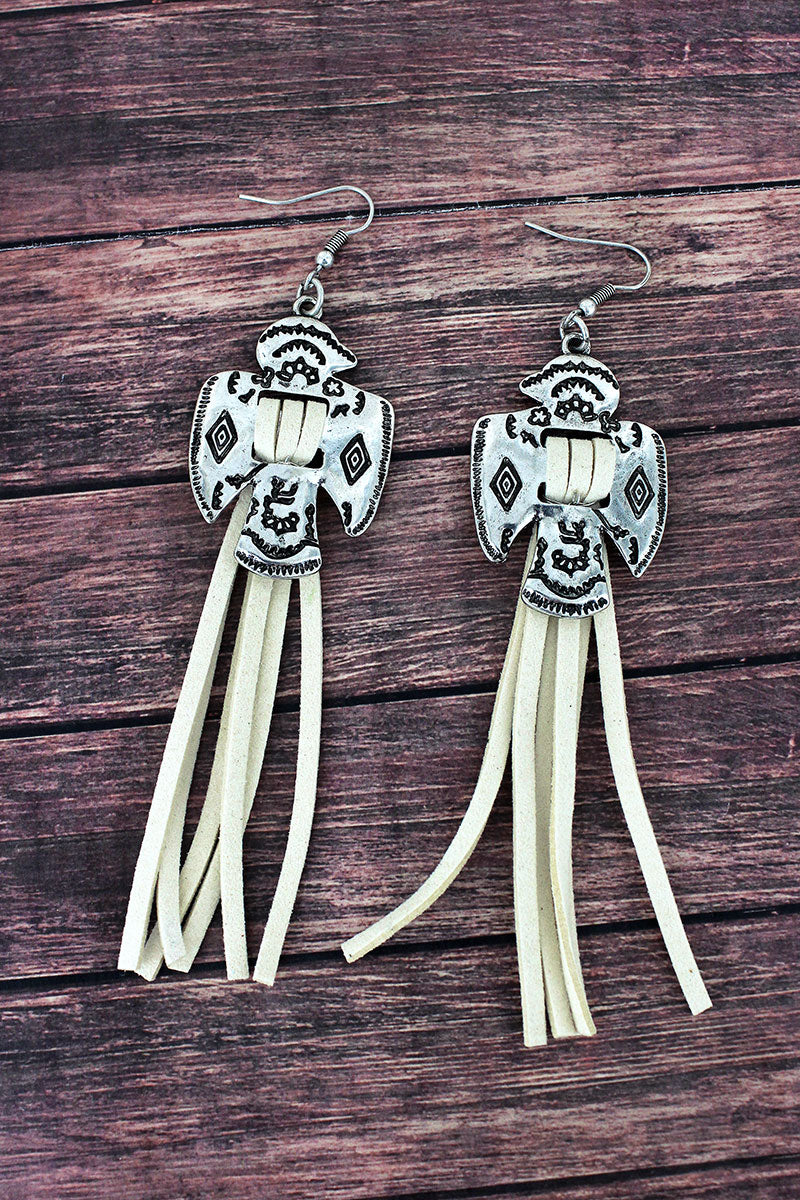 Western Thunderbird and Ivory Faux Suede Tassel Earrings