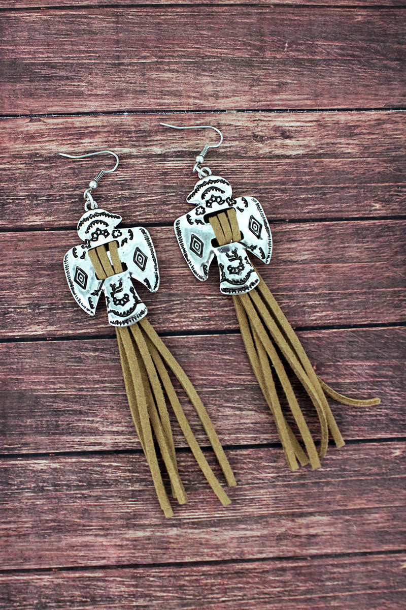 Western Thunderbird and Light Brown Faux Suede Tassel Earrings