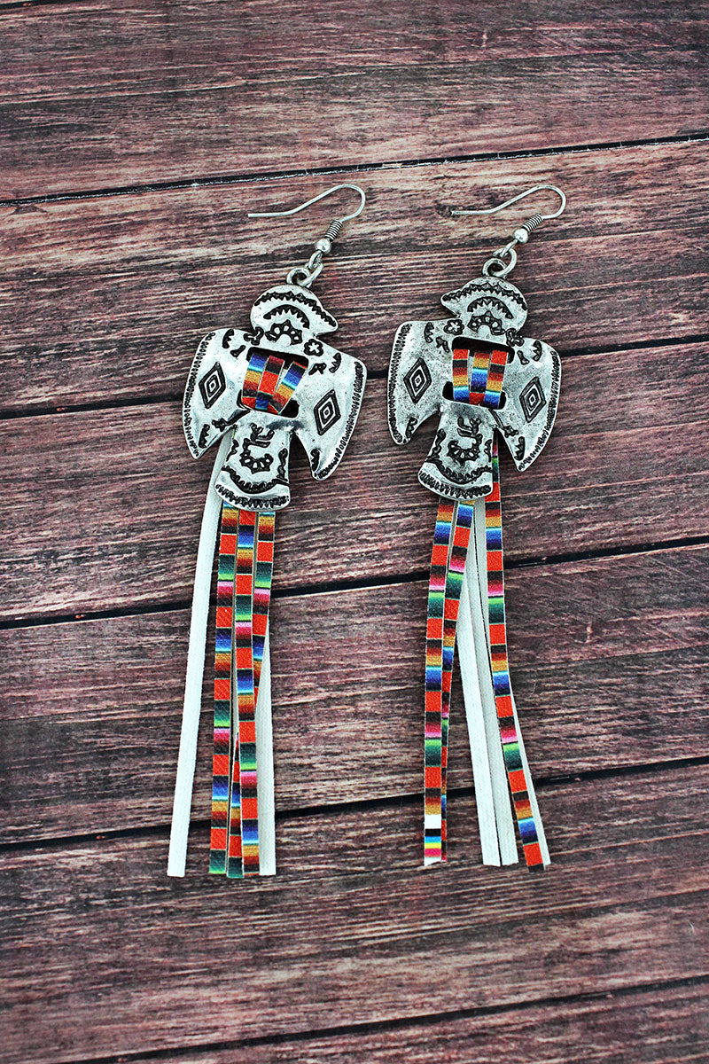 Western Thunderbird and Serape Tassel Earrings