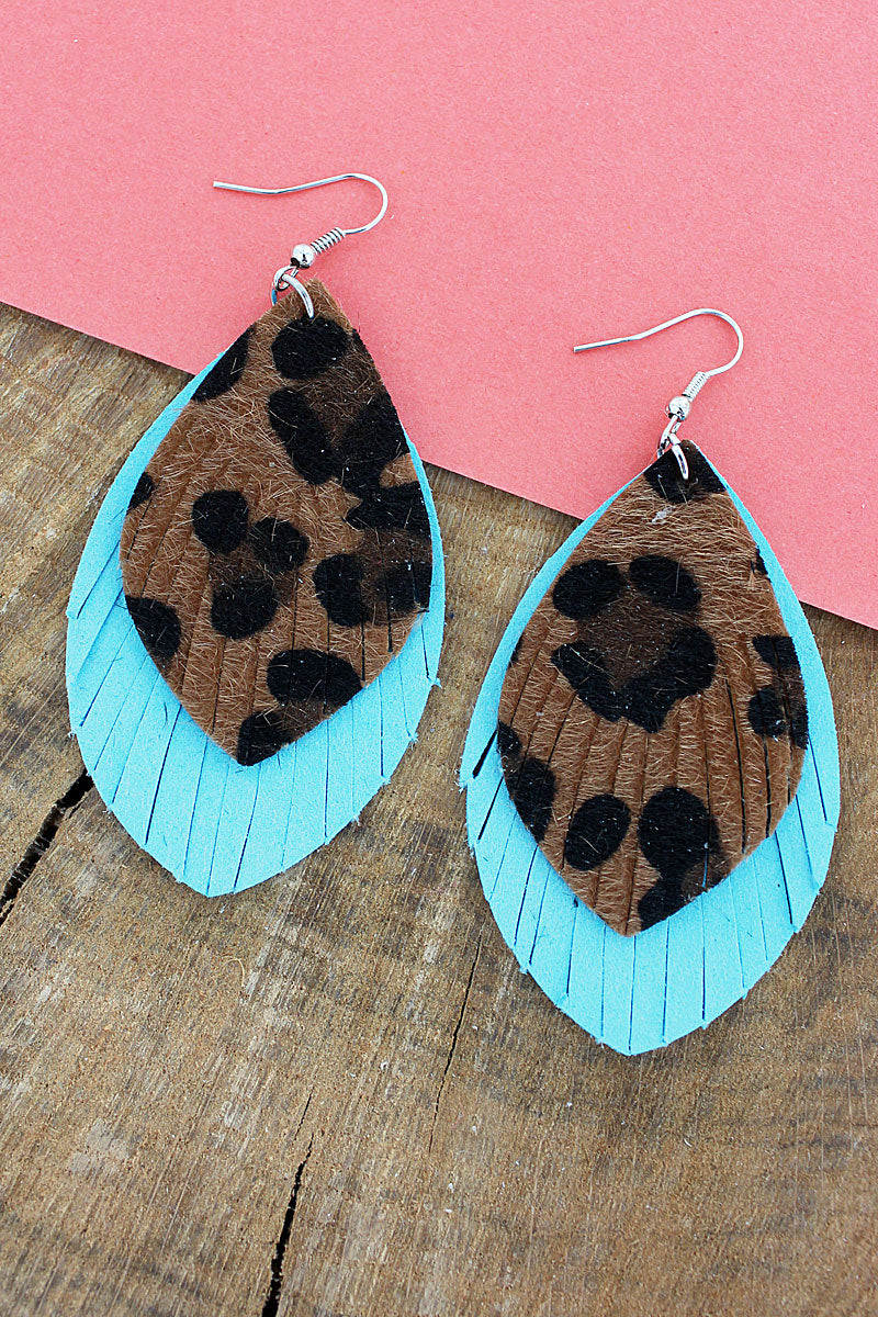 Leopard and Turquoise Faux Leather Layered Shredded Petal Earrings