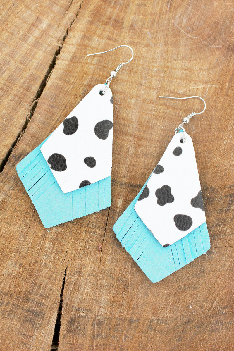 Cow and Turquoise Faux Leather Layered Kite Earrings