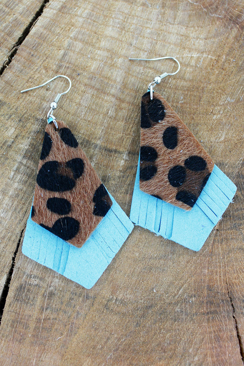 Leopard and Turquoise Faux Leather Layered Kite Earrings