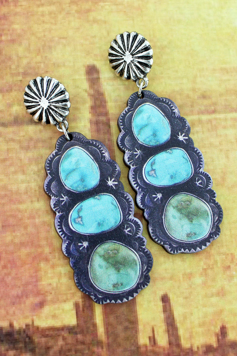 Silvertone Concho and Triple Turquoise Stone Print Wood Earrings