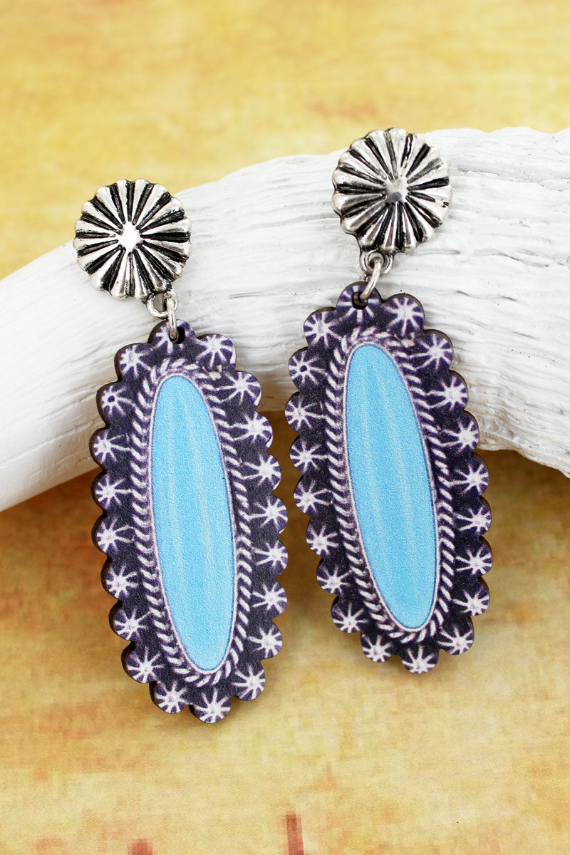 Silvertone Concho and Sunburst Framed Turquoise Print Wood Earrings