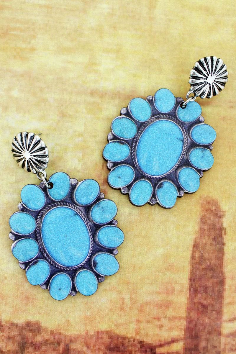 Silvertone Concho and Turquoise Bead Flower Print Wood Earrings
