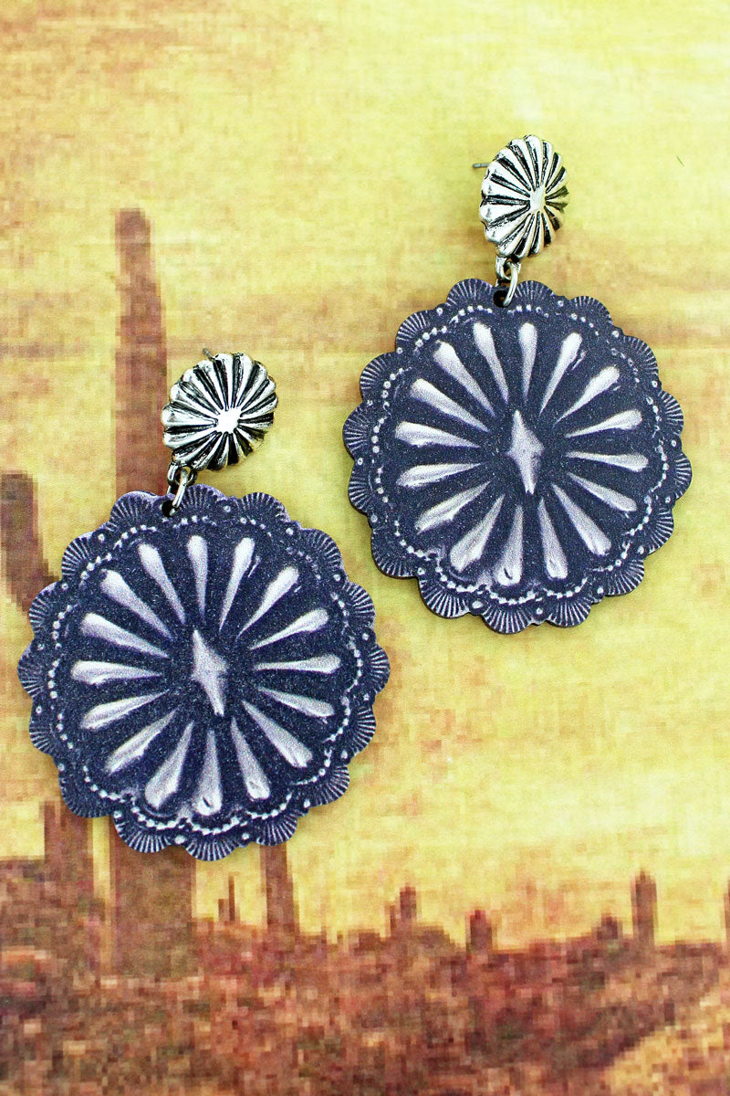 Silvertone Concho and Sunburst Concho Print Wood Earrings