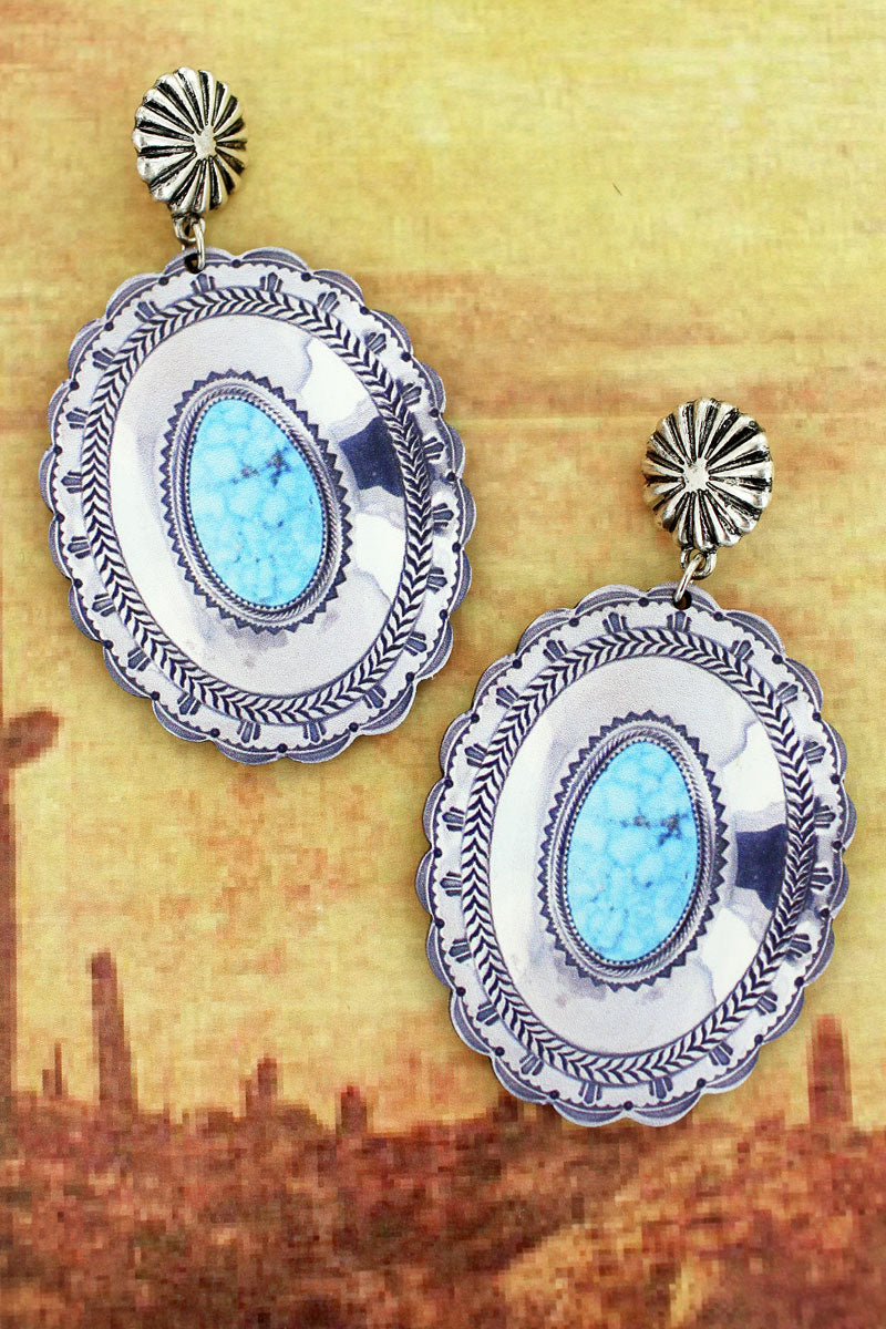 Silvertone Concho and Silver Framed Turquoise Stone Print Wood Earrings