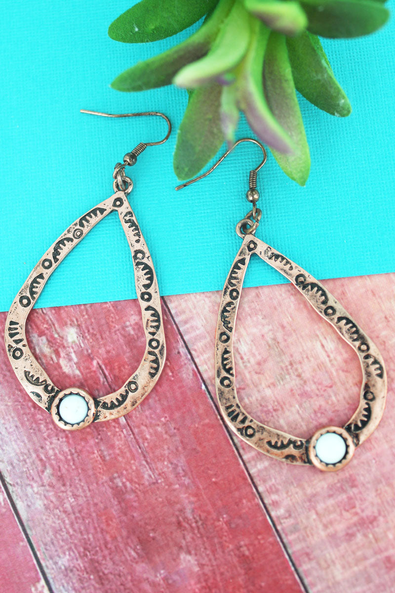 Coppertone with White Bead Teardrop Earrings