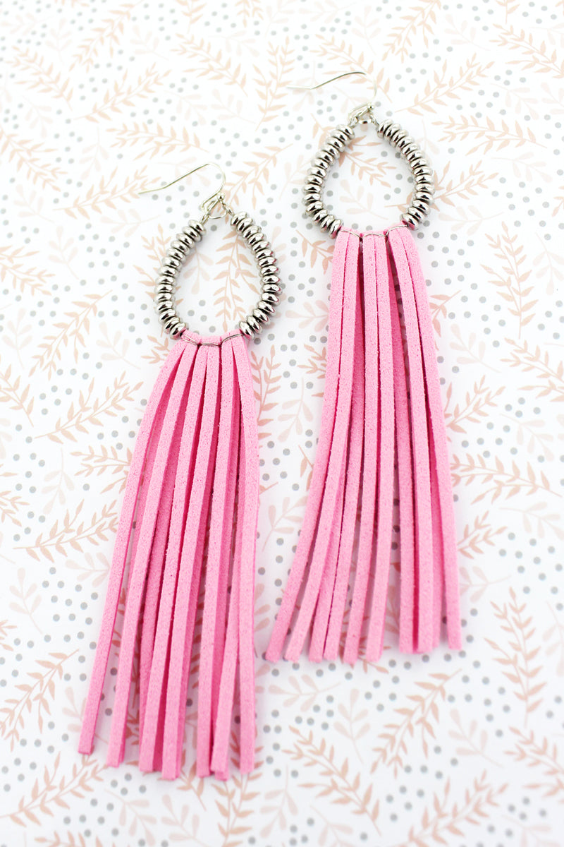 Pink and Silvertone Beaded Teardrop Tassel Earrings