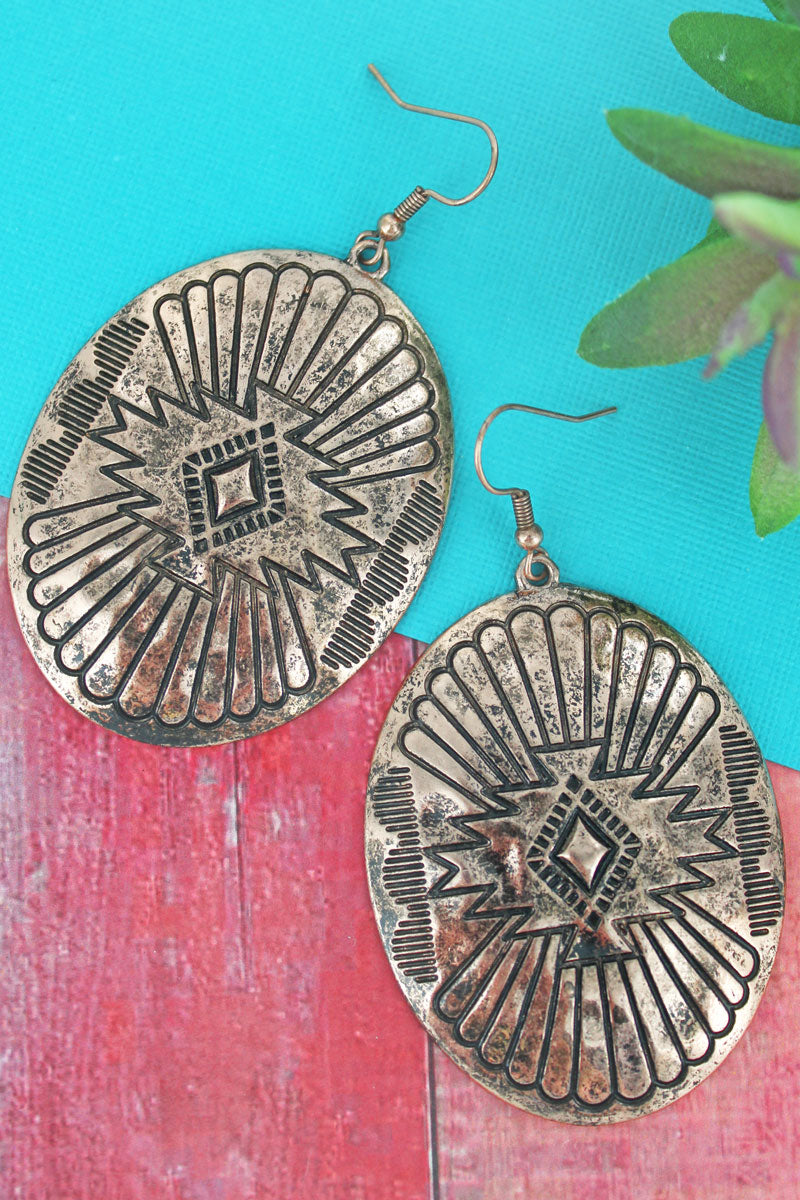 Burnished Coppertone Santa Fe Burst Oval Earrings