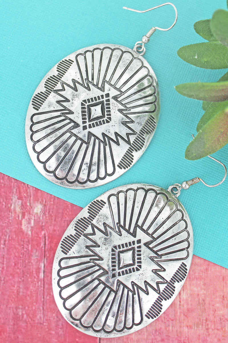 Burnished Silvertone Santa Fe Burst Oval Earrings
