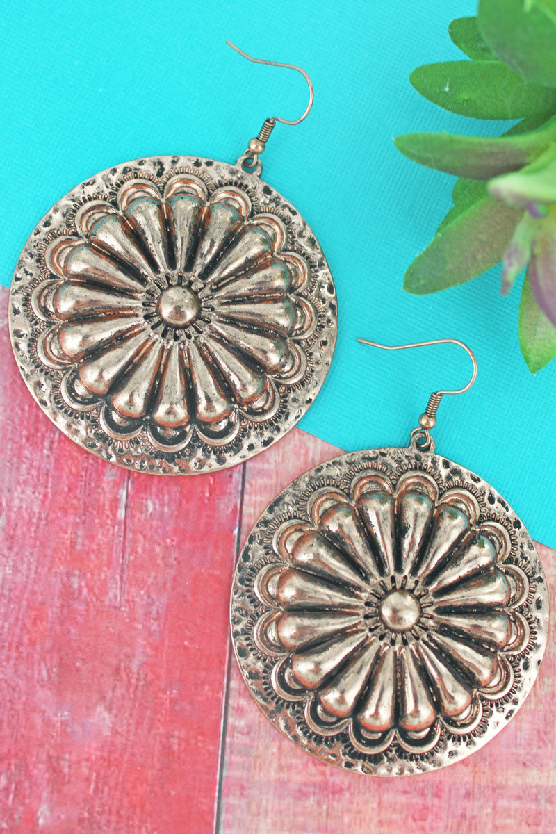 Burnished Coppertone Sunburst Concho Earrings