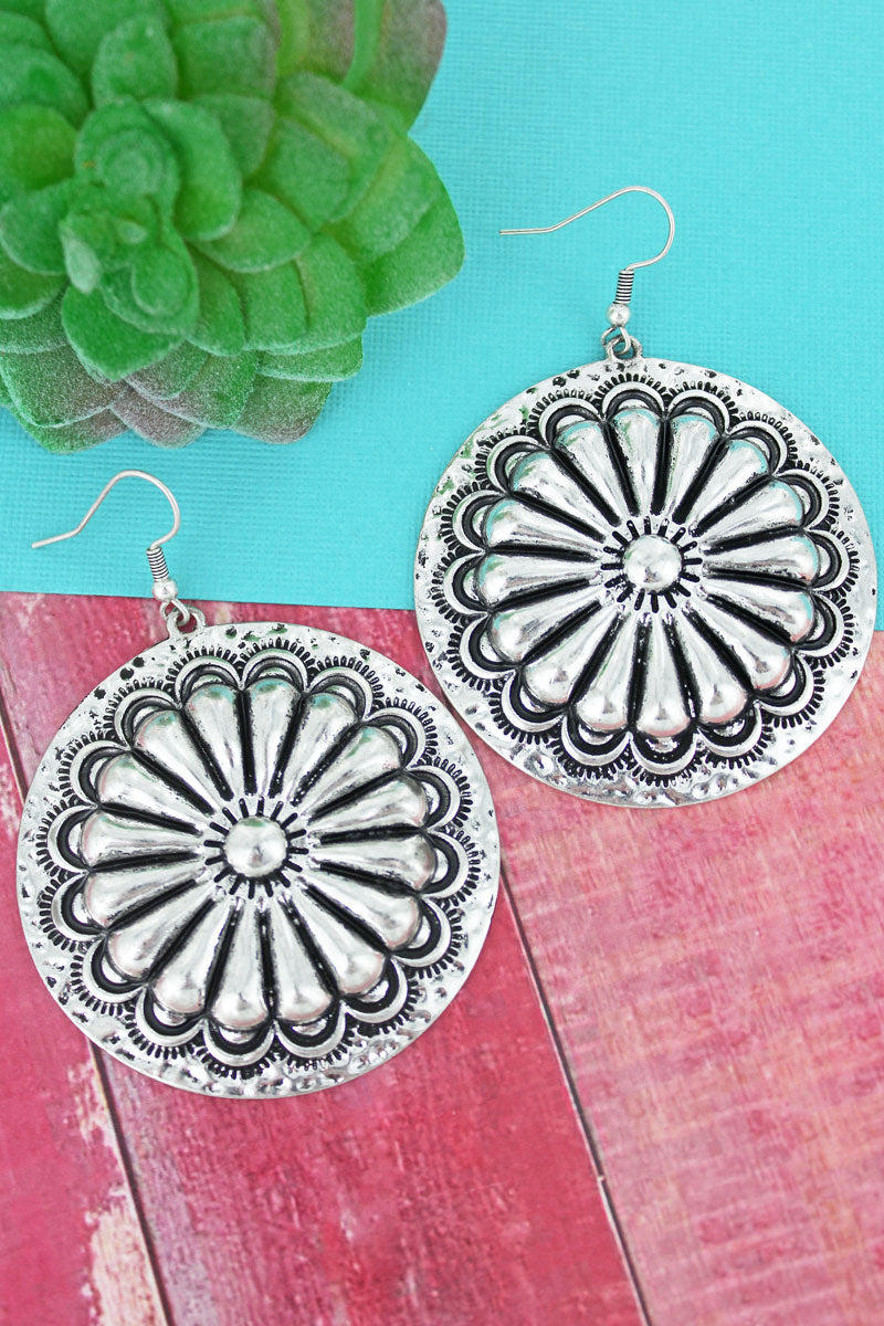 Burnished Silvertone Sunburst Concho Earrings