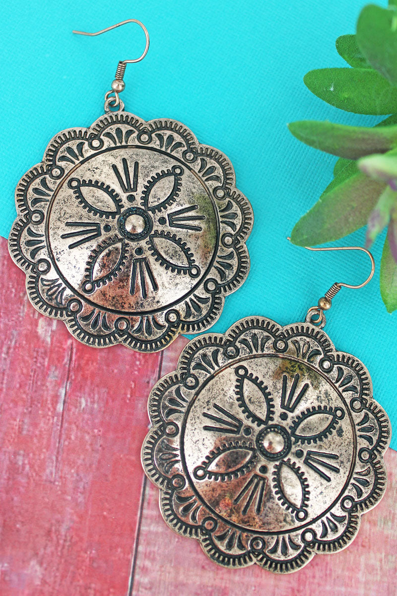 Burnished Coppertone Flower Concho Earrings