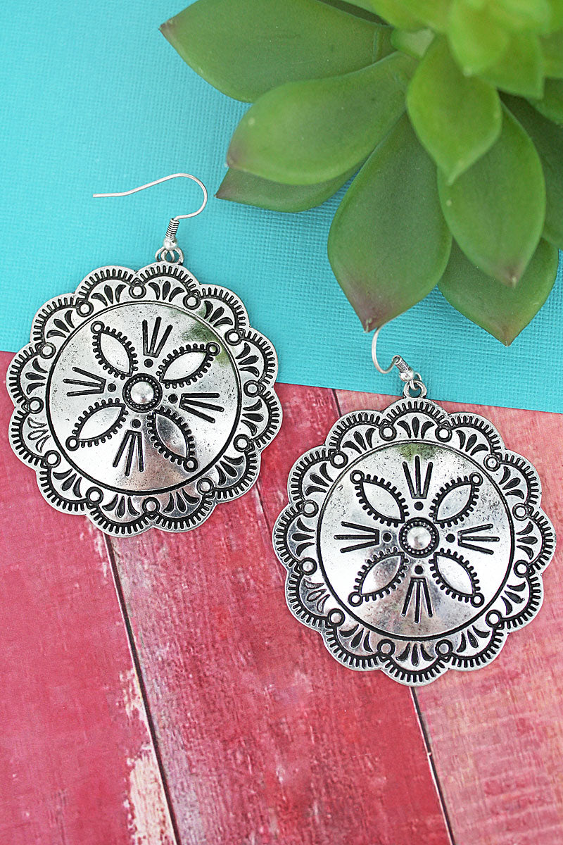 Burnished Silvertone Flower Concho Earrings