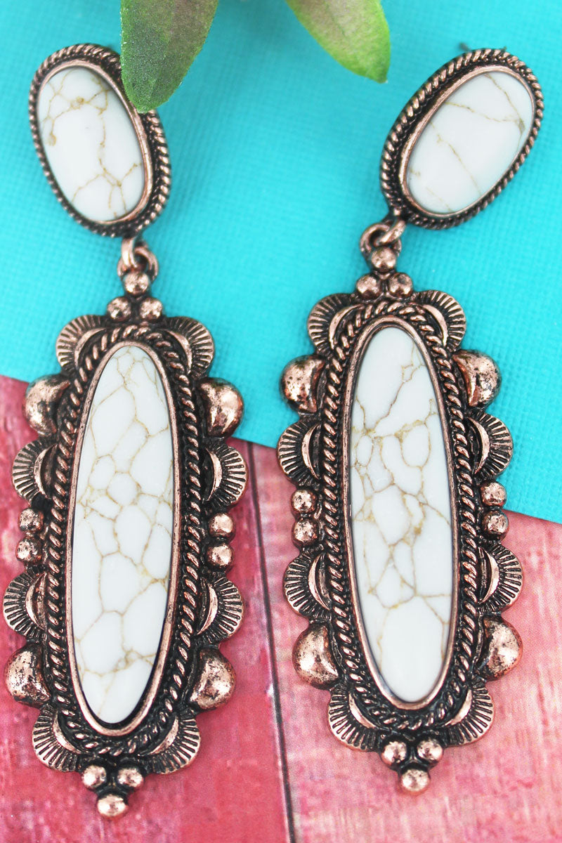 Coppertone and White Stone Scalloped Oval Drop Earrings