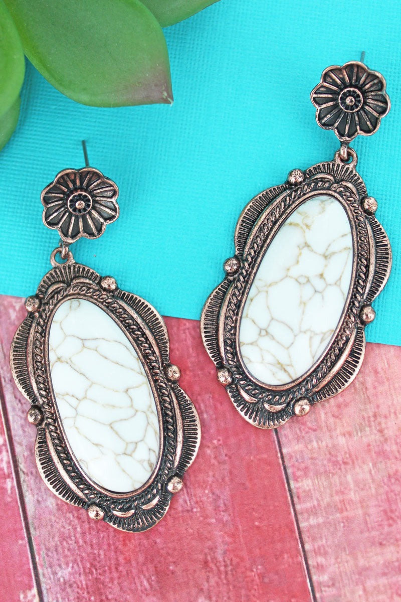 Scalloped Coppertone Framed White Stone Drop Earrings