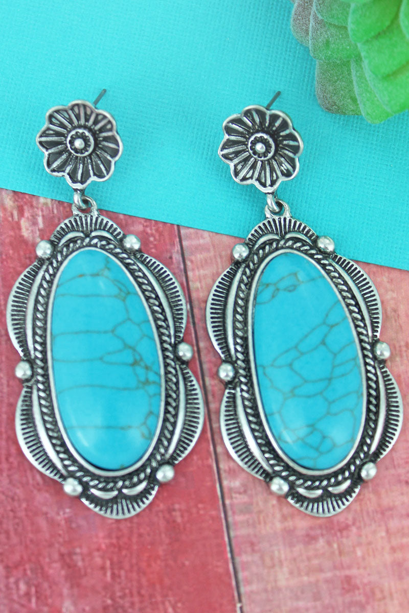 Scalloped Silvertone Framed Turquoise Stone Drop Earrings