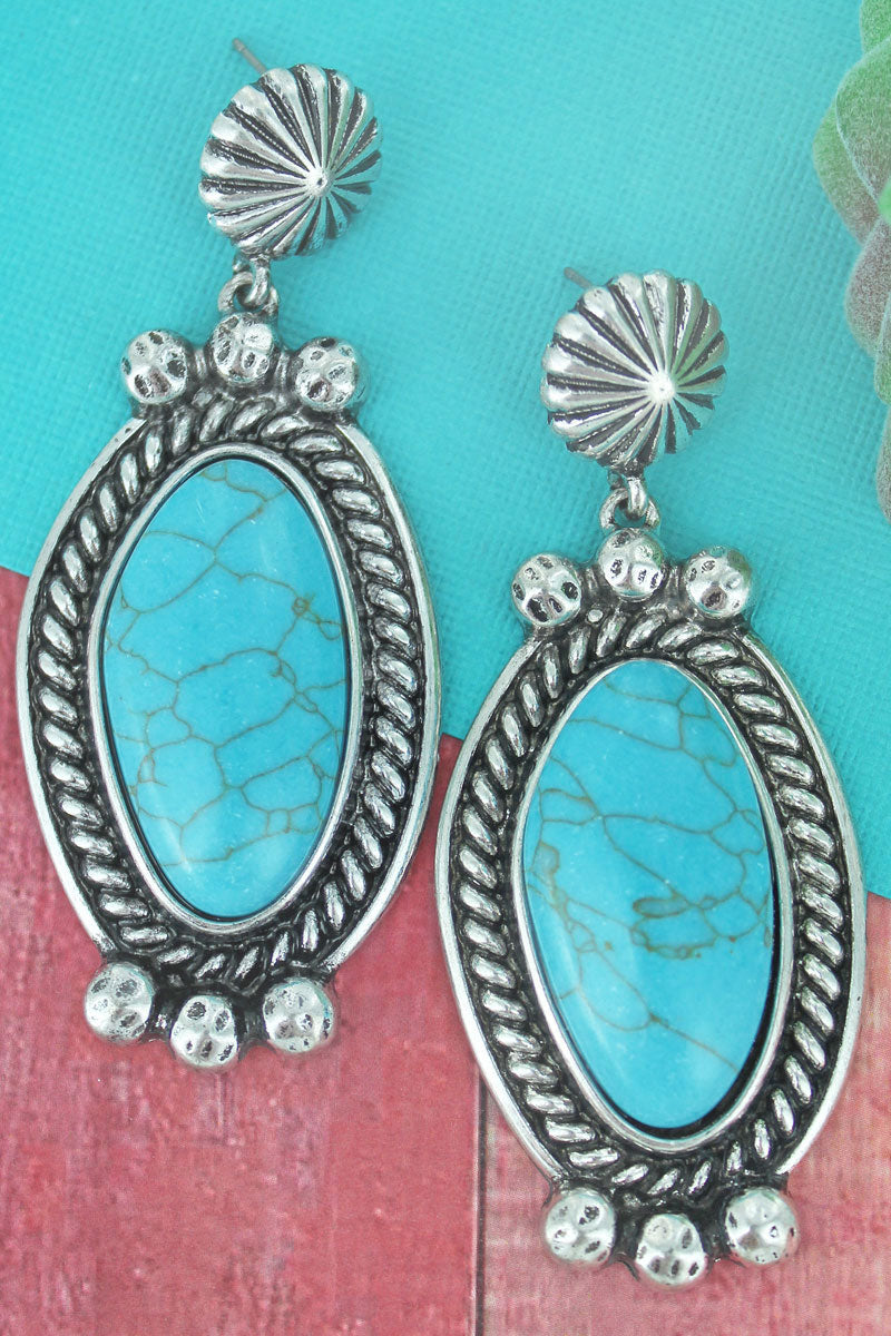 Silvertone Western Framed Turquoise Stone Drop Earrings