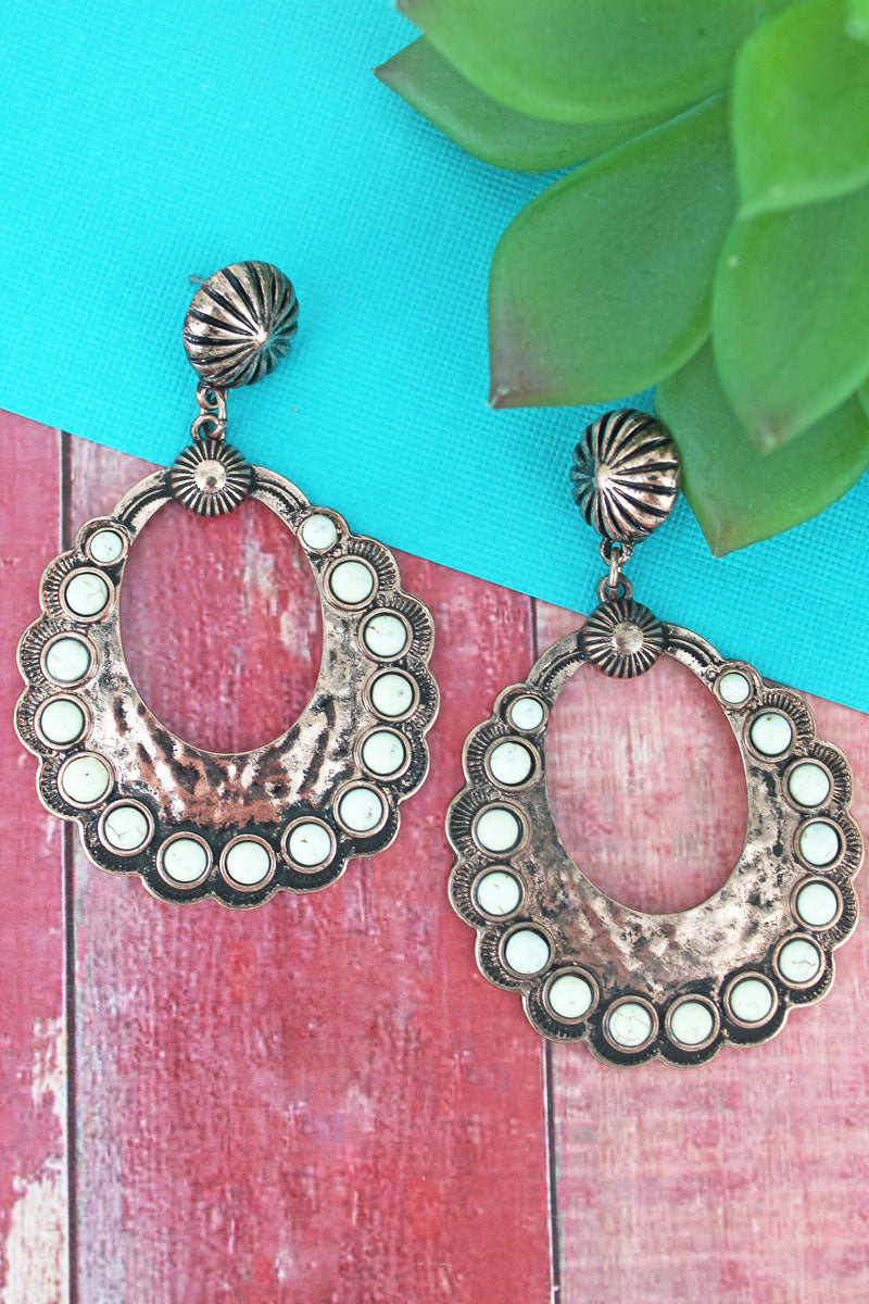 White Beaded Coppertone Scalloped Open Disk Drop Earrings