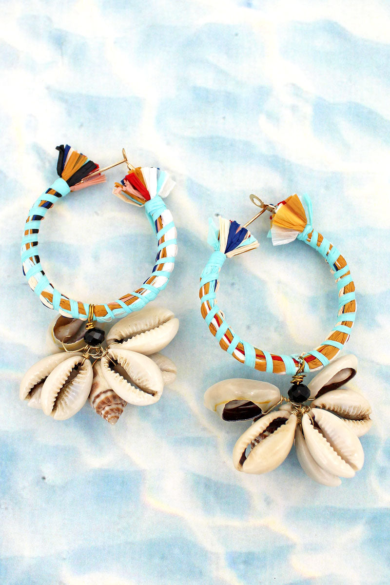 Cowrie & Conch Shell Cluster Hoop Earrings