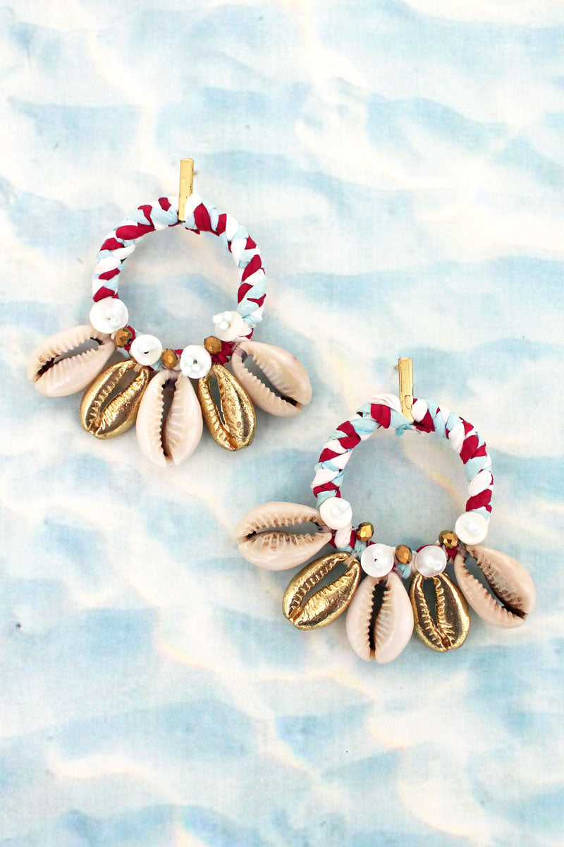 White and Gold Cowrie Shell Fringe Hoop Earrings