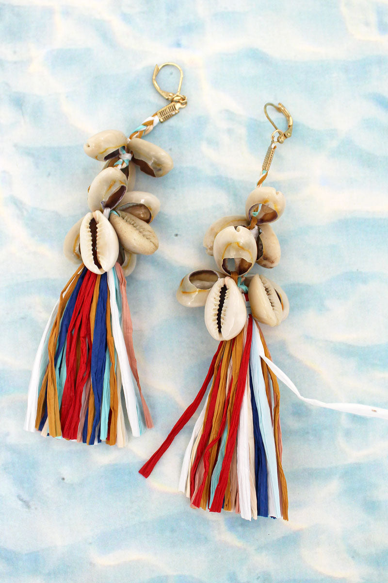 Cowrie Shell Raffia Tassel Earrings