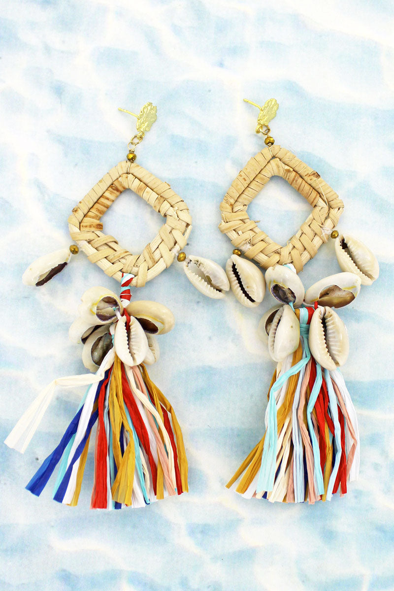 Rattan Diamond with Cowrie Shell Raffia Fringe Earrings