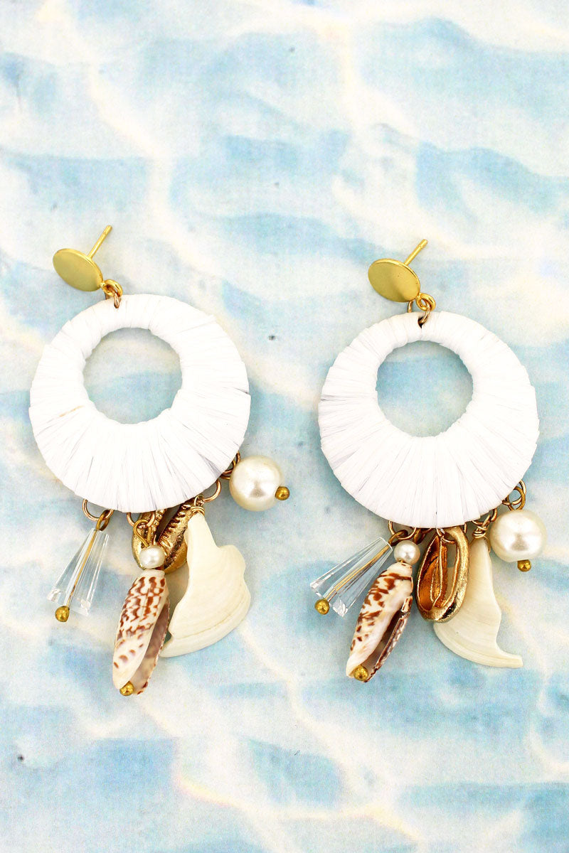 White Raffia Wrapped Disk Shell Charm Earrings
