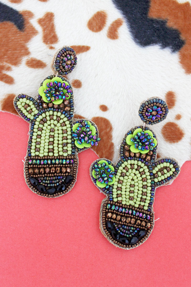 Beaded Potted Cactus Earrings