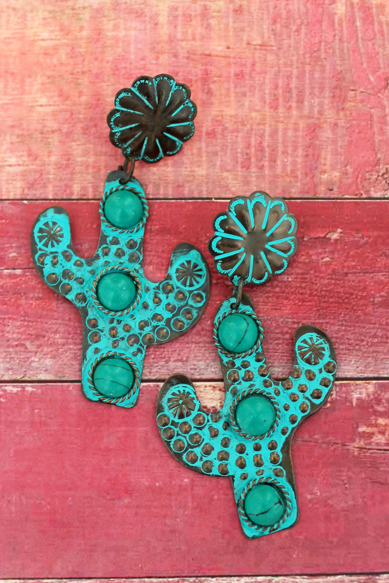 Tucson Cactus Patina Earrings