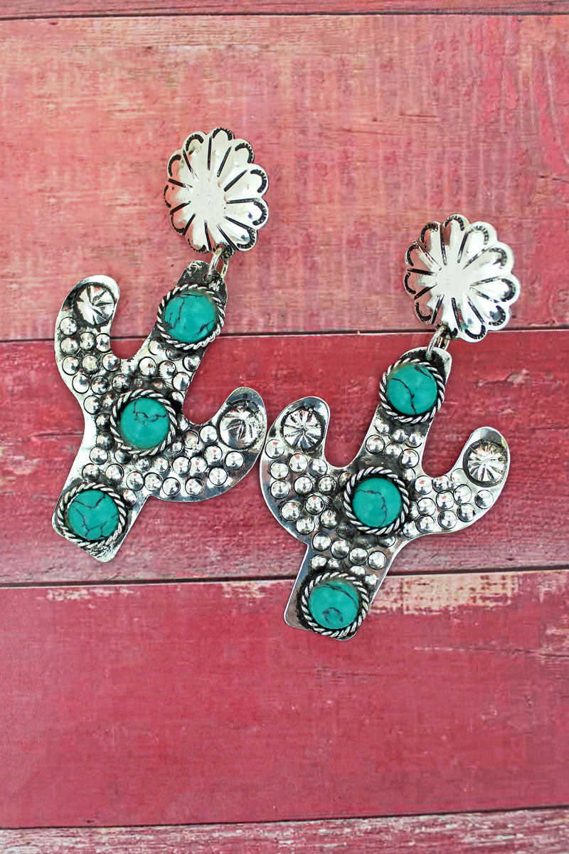 Tucson Cactus Silvertone Earrings