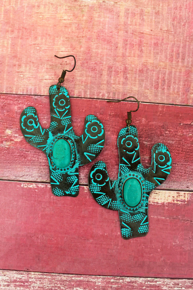 Arizona Cactus Patina Earrings