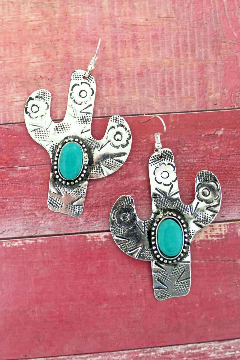 Arizona Cactus Silvertone Earrings