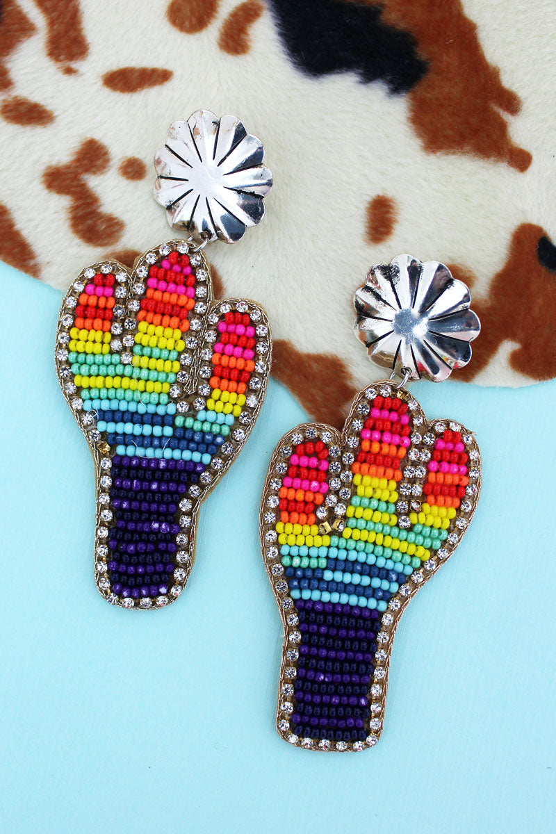 Silvertone Concho and Rainbow Seed Bead Cactus Earrings