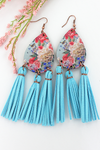 Southern Charm Wood Teardrop Blue Tassel Fringe Earrings